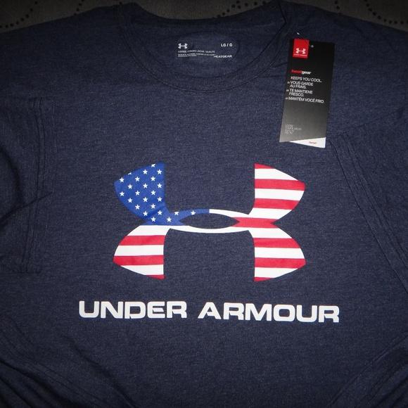 Under Armour Shirts Usa Big Logo Flag Shirt Xxl L Men Nwt Poshmark